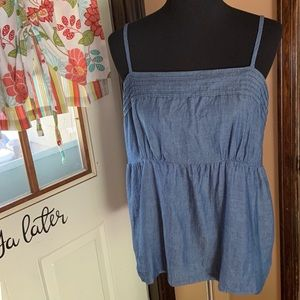 Loft Ann Taylor chambray top size large GUC
